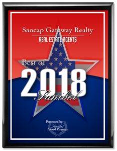 Photo of 2018 Best of Sanibel Award that we've received.