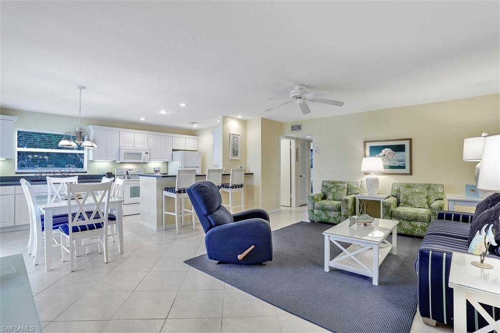 Kitchen and living room of a condo in Sanibel Arms West