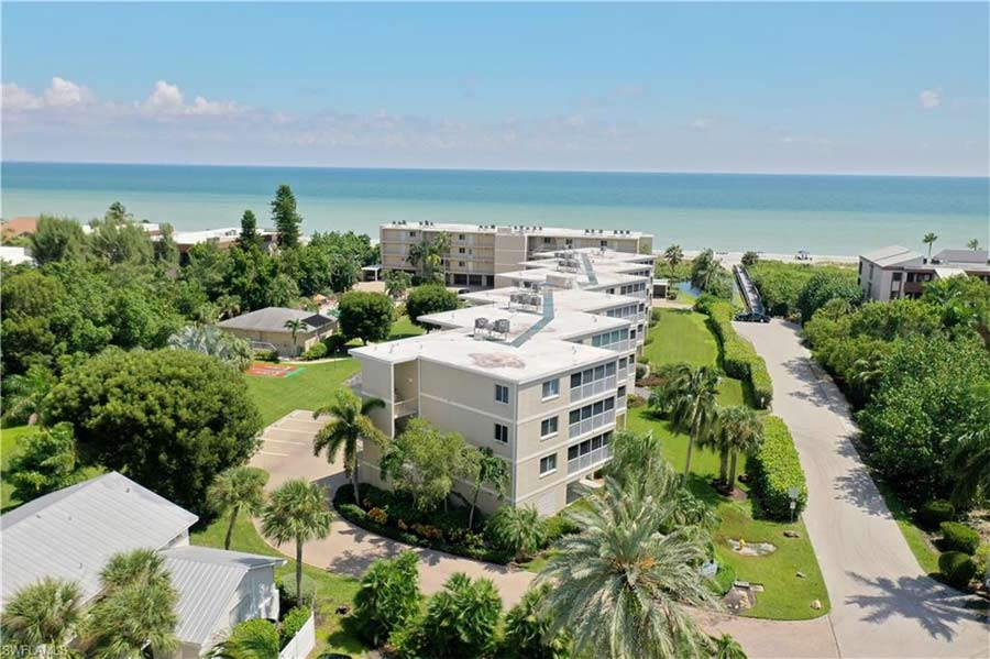 Arial view of Sanibel Surfside Condo for sale.