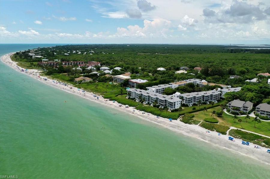 Arial view of Island Beach Club Sanibel Island Condo for sale.